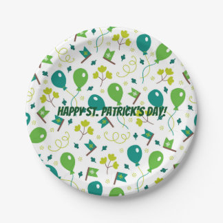 Cute Saint Patrick's Day Balloons and Flags Paper Plate