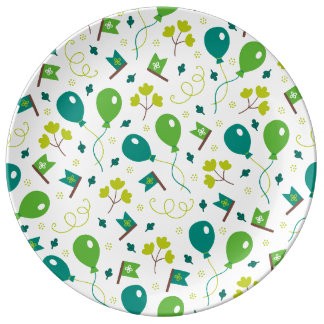 Cute Saint Patrick's Day Balloons and Flags Plate