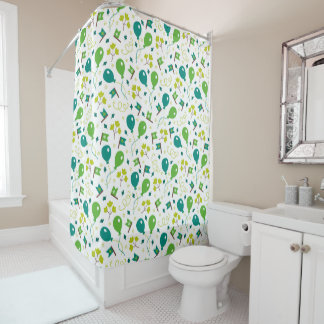 Cute Saint Patrick's Day Balloons and Flags Shower Curtain