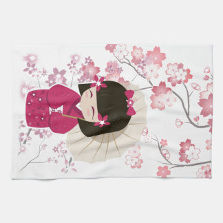 Cute Sakura Kokeshi Doll Tea Towel