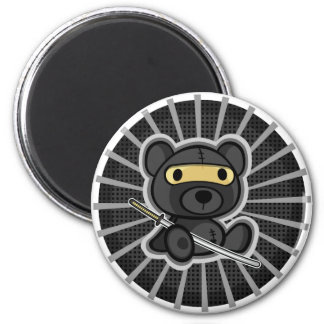 Cute samurai warrior ninja teddy bear on magnet