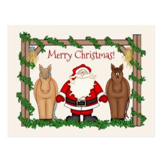 Cute Santa and Horses Merry Christmas Holiday Postcard