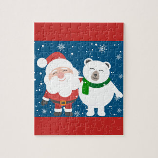 Cute Santa And Polar Bear Jigsaw Puzzle