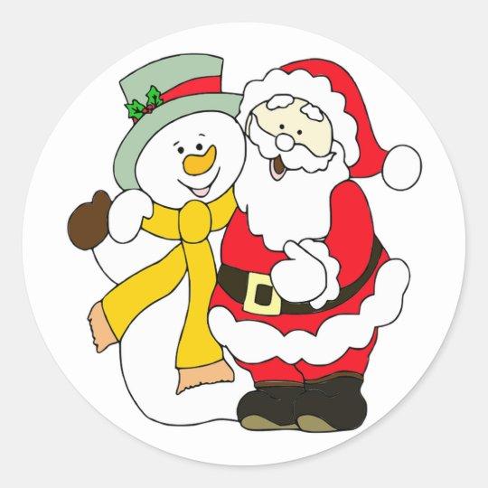Cute Santa and Snowman Classic Round Sticker