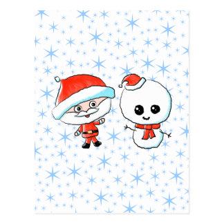 Cute Santa and Snowman Post Card