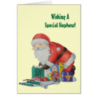 Cute santa and toys wrapping Christmas gifts Card