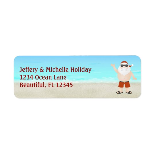 Cute Santa at the Beach Christmas Holiday Address Return Address Label