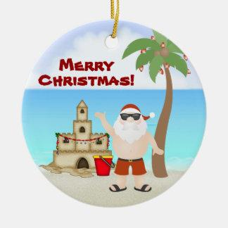 Cute Santa at the Beach Merry Christmas Holiday Round Ceramic Decoration