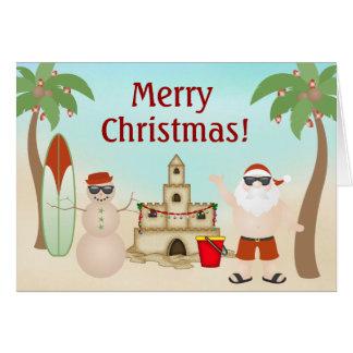 Cute Santa at the Beach Paradise Merry Christmas Card