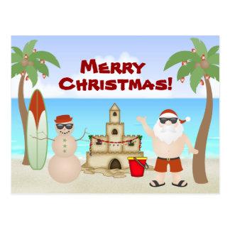 Cute Santa at the Beach Paradise Merry Christmas Postcard