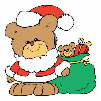 Cute Santa Bear and Toy Sack Standing Photo Sculpture