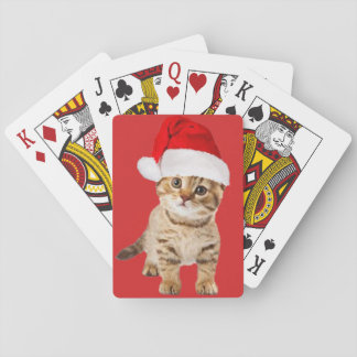 Cute Santa Cat Kitten Playing Cards