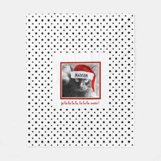 Cute Santa Cat on B&W Polka Dots, Add Name Fleece Blanket