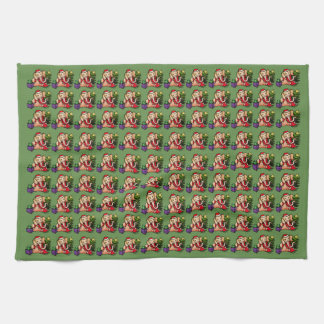 Cute Santa Christmas Elephants Pattern Tea Towel
