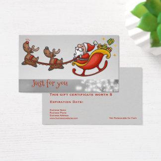 Cute Santa Claus Business Gift Card Certificates