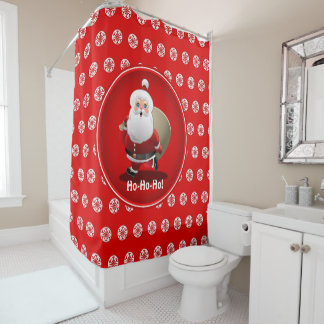 Cute Santa Claus Cartoon Shower Curtain