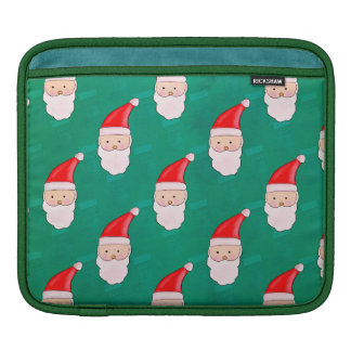 Cute Santa Claus Christmas Holiday Pattern Green iPad Sleeve