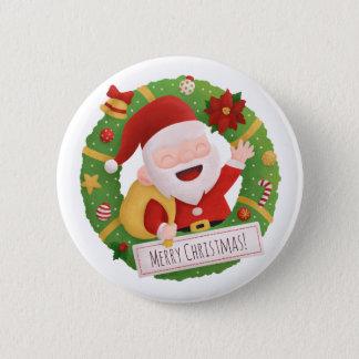 Cute Santa Claus Christmas Wreath Button