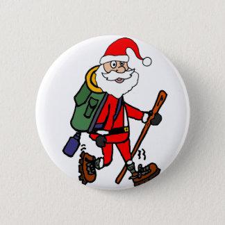 Cute Santa Claus Hiking Christmas Cartoon 6 Cm Round Badge
