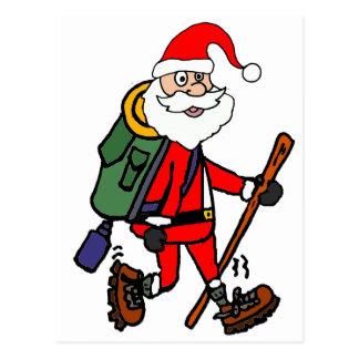 Cute Santa Claus Hiking Christmas Cartoon Postcard