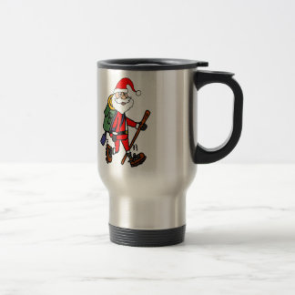 Cute Santa Claus Hiking Christmas Cartoon Travel Mug