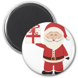Cute Santa Claus Holding Christmas Present Magnet