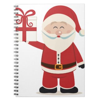 Cute Santa Claus Holding Christmas Present Notebooks