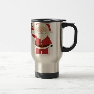 Cute Santa Claus Holding Christmas Present Travel Mug