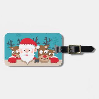 Cute Santa Claus peeking with reindeers Christmas Luggage Tag