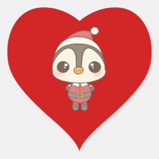 cute santa claus penguin character heart sticker