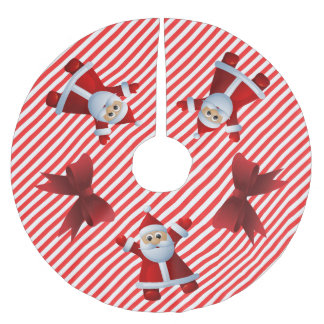 Cute Santa Claus Red Bows Merry Christmas Brushed Polyester Tree Skirt