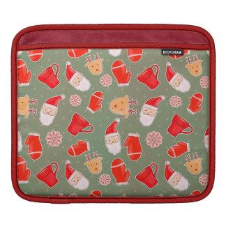 Cute Santa Claus Reindeer Holiday Pattern Green iPad Sleeve