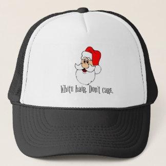 Cute Santa Claus White Hair Don't Care Christmas Trucker Hat