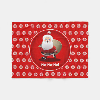 Cute Santa Claus With A Sack Full Of Gifts Fleece Blanket