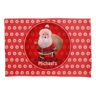 Cute Santa Claus With A Sack Full Of Gifts Pillowcase