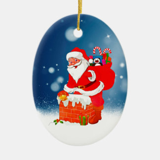Cute Santa Claus with Gift Bag Christmas Snow Star Ceramic Oval Decoration