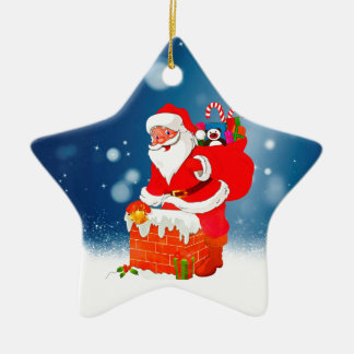 Cute Santa Claus with Gift Bag Christmas Snow Star Ceramic Star Decoration