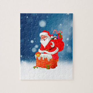 Cute Santa Claus with Gift Bag Christmas Snow Star Jigsaw Puzzle
