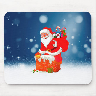Cute Santa Claus with Gift Bag Christmas Snow Star Mouse Pad