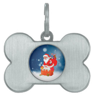 Cute Santa Claus with Gift Bag Christmas Snow Star Pet Tag
