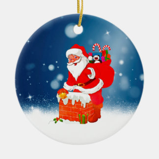 Cute Santa Claus with Gift Bag Christmas Snow Star Round Ceramic Decoration