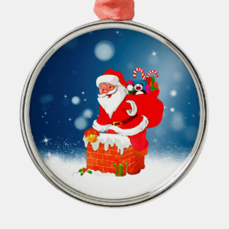 Cute Santa Claus with Gift Bag Christmas Snow Star Silver-Colored Round Decoration