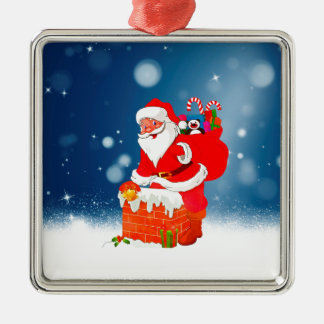 Cute Santa Claus with Gift Bag Christmas Snow Star Silver-Colored Square Decoration