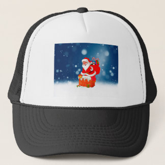 Cute Santa Claus with Gift Bag Christmas Snow Star Trucker Hat