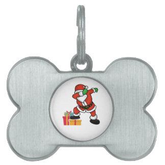 Cute Santa dabbing on gift Christmas T Shirt Pet Name Tag