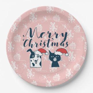 Cute Santa Dog & Cat Illustration Christmas Paper Plate