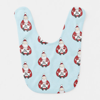 Cute santa drawing Christmas Bib