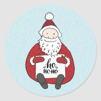 Cute Santa drawing Christmas Classic Round Sticker