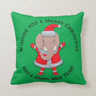 Cute Santa Elephant on Green Merry Christmas Cushion