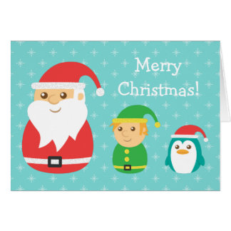 Cute Santa, Elf and Penguin lined up for Christmas Greeting Card